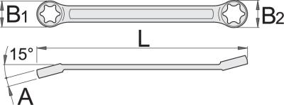 Plochý kľúč očkový s vyhnutou hlavou- TX profil