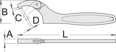 technický list Kľúč hákový s kĺbom 255/2F