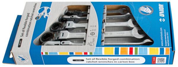 Sada kĺbových kľúčov s račňou v kartóne