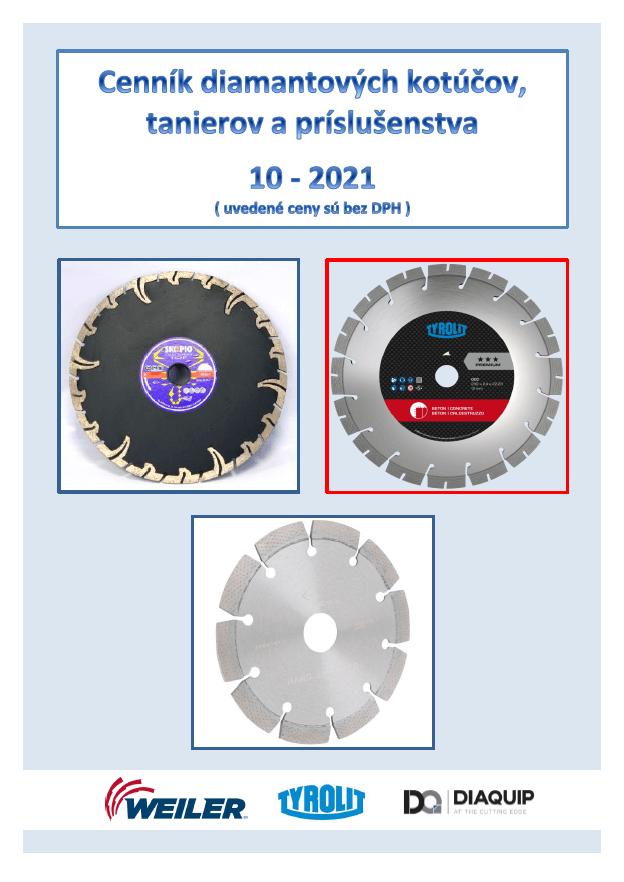Cenník dia-kotúčov, tanierov a príslušenstva 10-2021