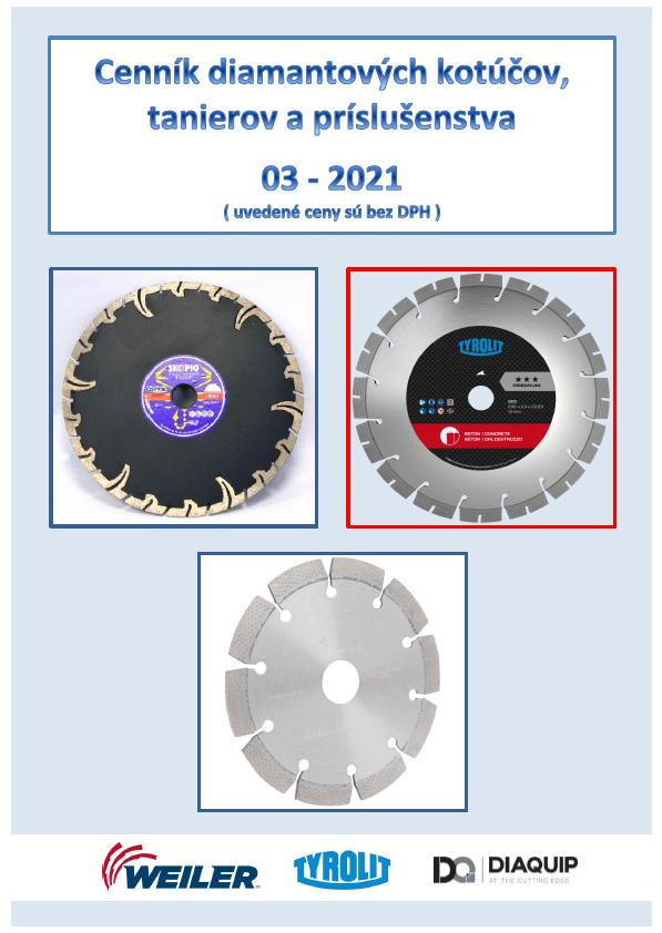 Cenník dia-kotúčov, tanierov a príslušenstva 03-2021
