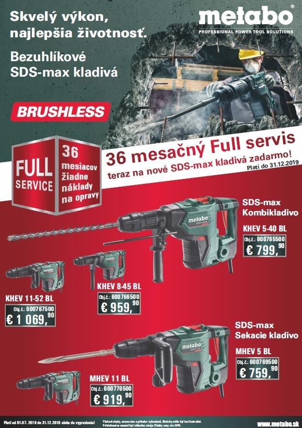 METABO - bezuhlíkové SDS-max kladivá - akcia: 1. 7. - 31. 12. 2019
