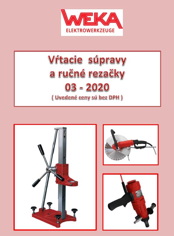 Cenník WEKA - vŕtacie súpravy a ručné rezačky  03-2020